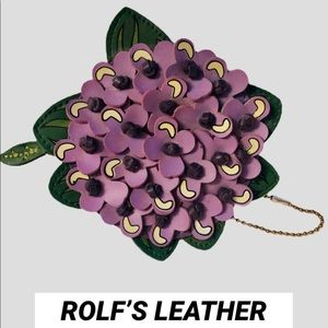 ROLFS VINTAGE LEATHER LILAC COIN PURSE/KEY FOB